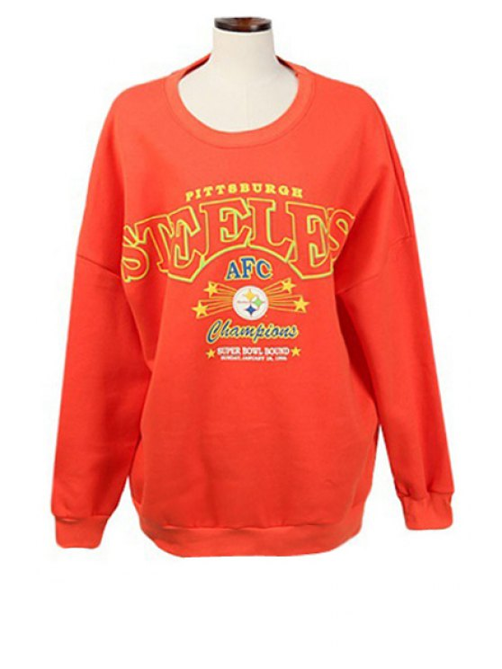 shop Round Neck Letters Print Sweatshirt - ORANGE M