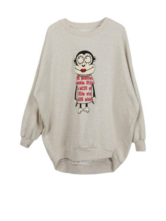 latest Cartoon Print Round Neck Sweatshirt - LIGHT GRAY ONE SIZE(FIT SIZE XS TO M)