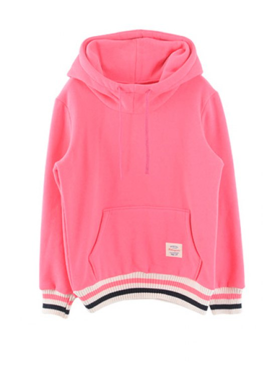 unique Color Block Front Pocket Hoodie - PINK ONE SIZE(FIT SIZE XS TO M)