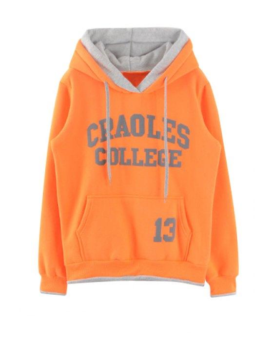 outfits Long Sleeve Letters Pattern Hoodie - ORANGE L
