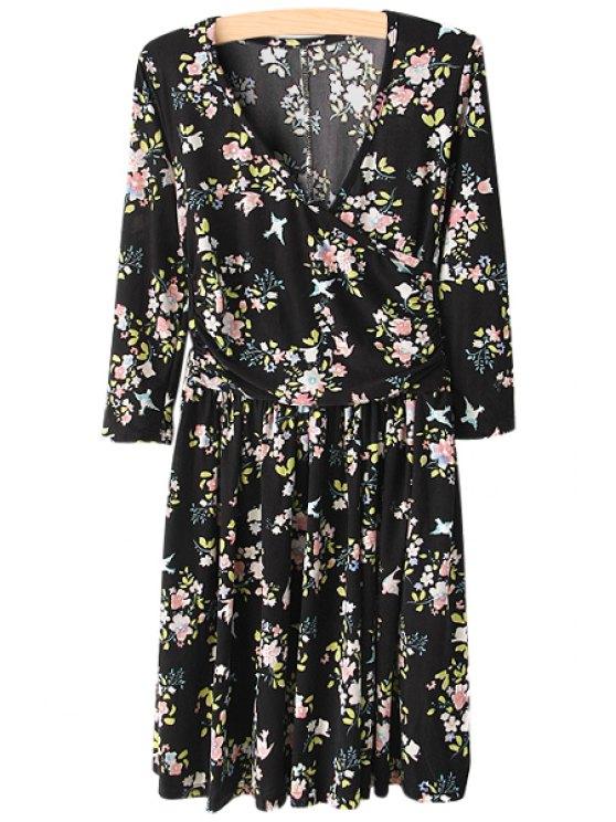best V-Neck Tiny Floral Print Dress - BLACK S