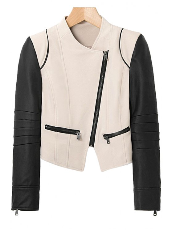 trendy Color Block PU Leather Splicing Jacket - WHITE AND BLACK S
