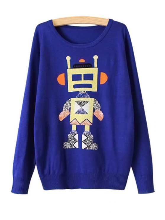 women's Long Sleeve Robot Pattern Sweater - BLUE ONE SIZE(FIT SIZE XS TO M)