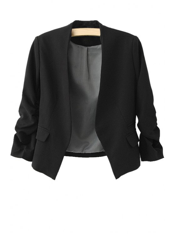 fashion 3/4 Sleeves Solid Color Blazer - BLACK S