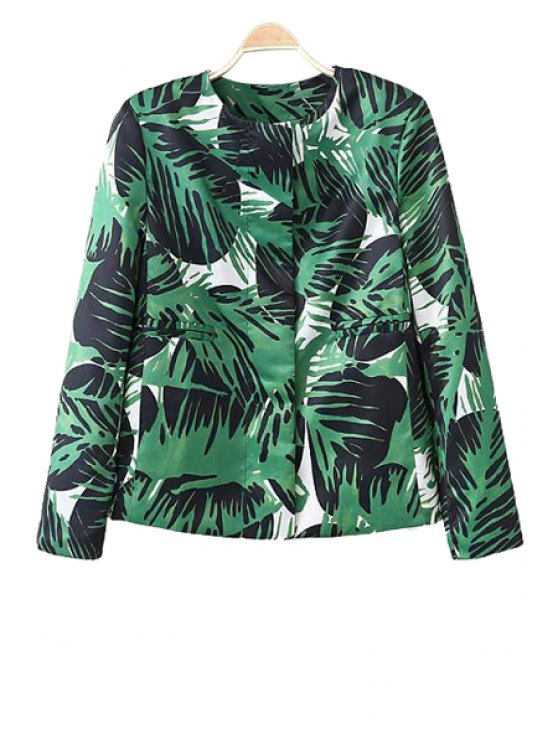 outfit Long Sleeve Plant Print Jacket - GREEN S
