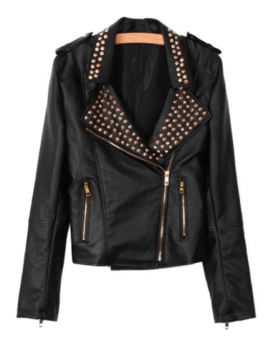shops Long Sleeve PU Leather Rivet Jacket - BLACK S