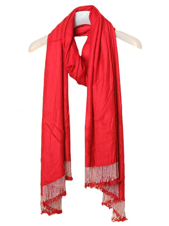 shop Beaded Tassel Solid Color Scarf - RED