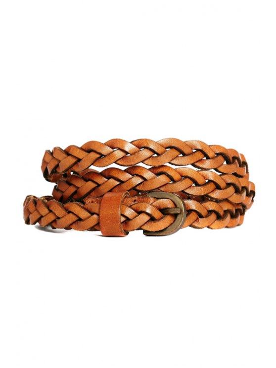 trendy Pin Buckle Weaving Belt - BROWN