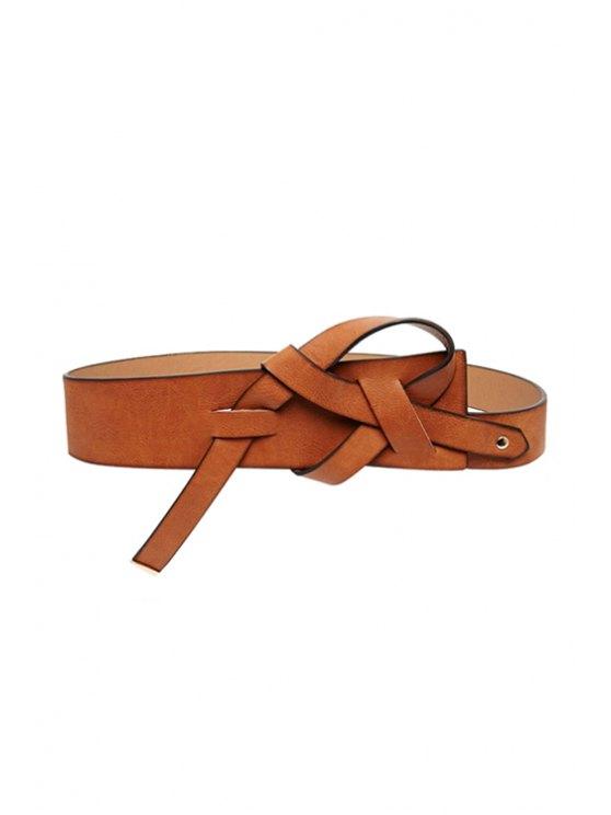 affordable Kink Design Faux Leather Belt - BROWN