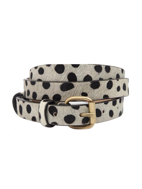 womens Spot Design Pin Buckle Belt - BLACK AND GREY