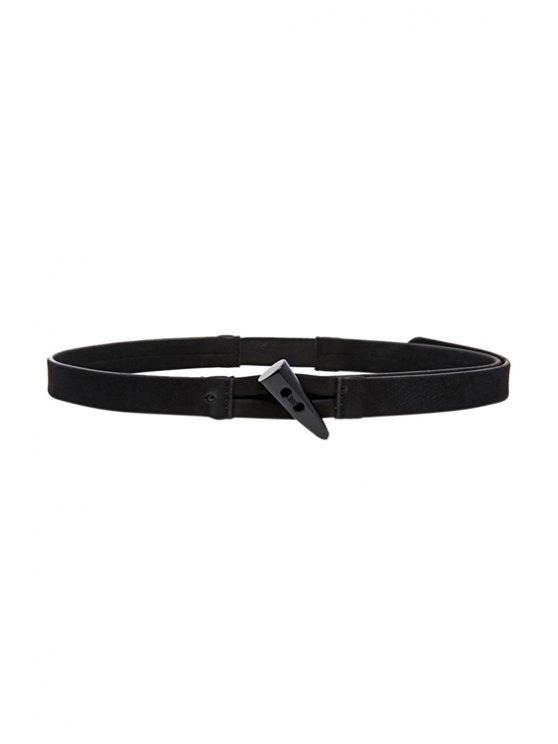 women's Horn Button Elastic Belt - BLACK