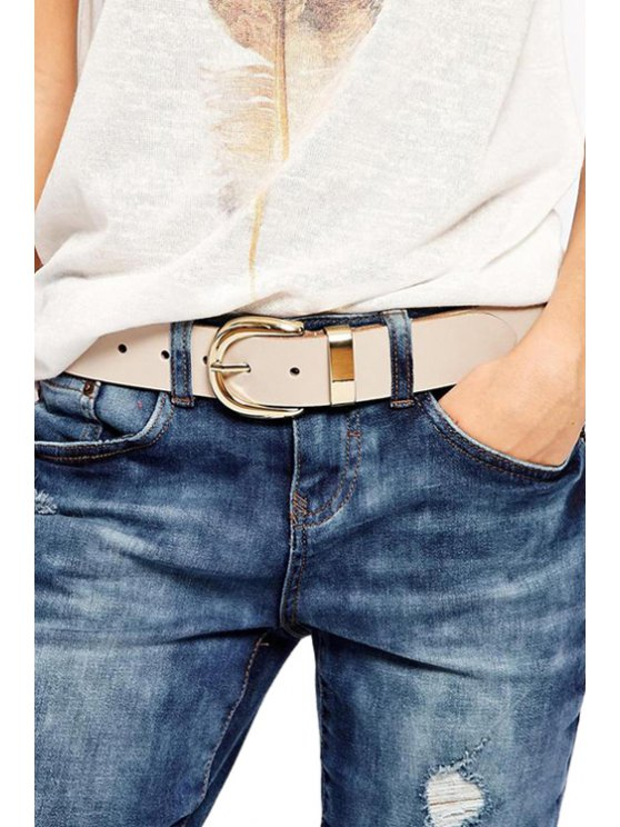 lady Solid Color Metal Buckle Belt - NUDE
