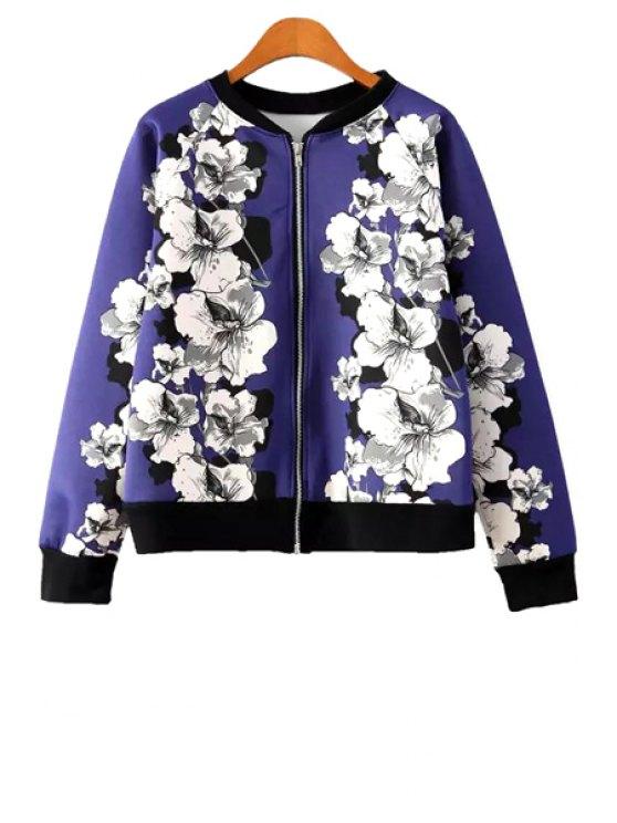 affordable Stand Collor Floral Pattern Jacket - BLUE S