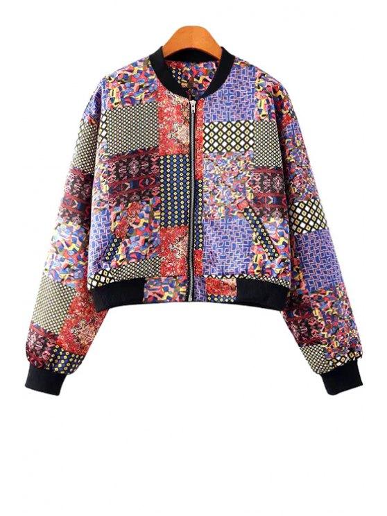 lady Retro Print Splicing Long Sleeve Jacket - COLORMIX S
