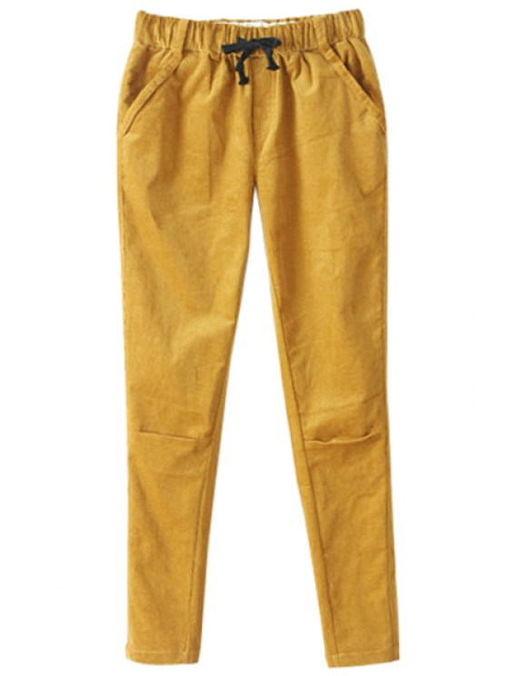 women's Drawstring Solid Color Corduroy Pants - YELLOW L