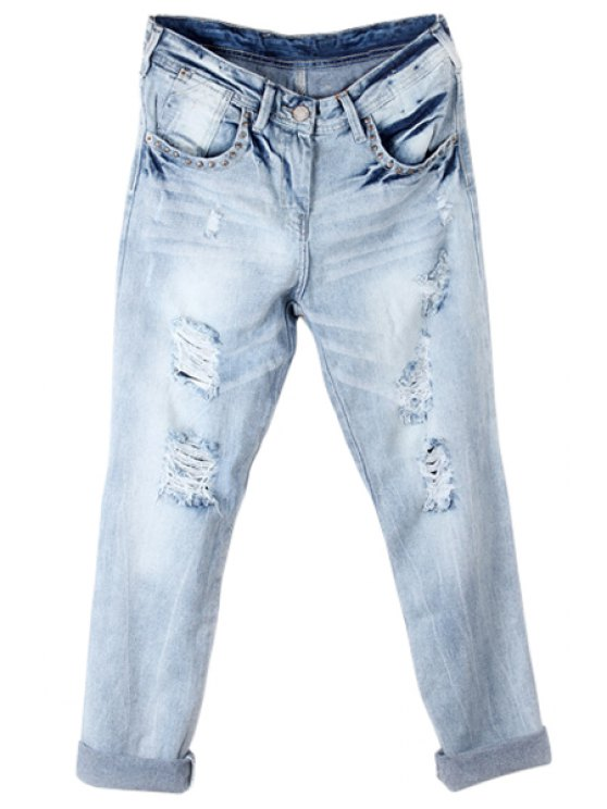 women's Broken Hole Vintage Jeans - LIGHT BLUE 34