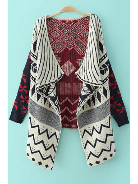 outfit Long Sleeves Geometric Pattern Cardigan - COLORMIX S