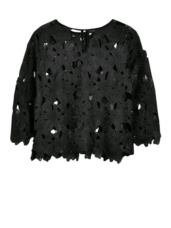 ladies Floral Embroidery Hollow Blouse - BLACK S