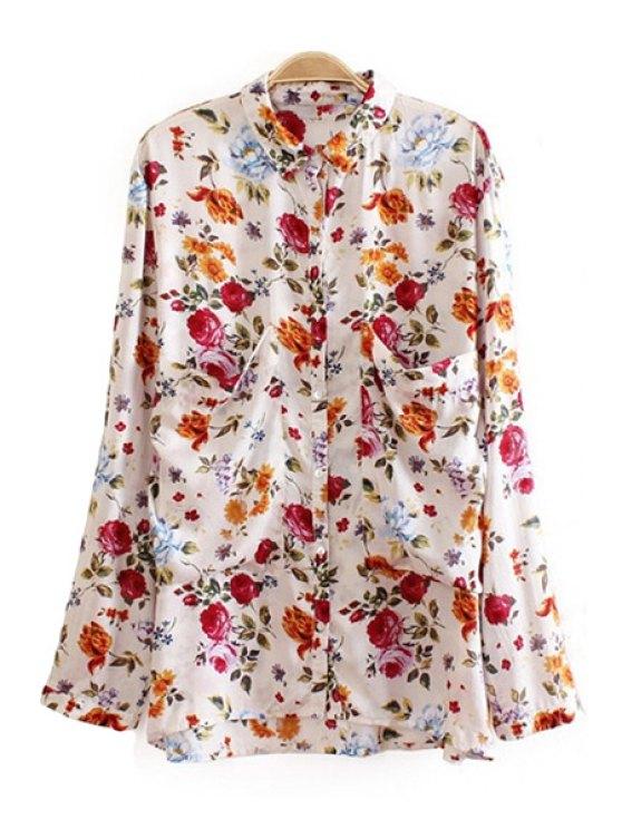 shop Full Floral Print Shirt Collar Shirt - OFF-WHITE S