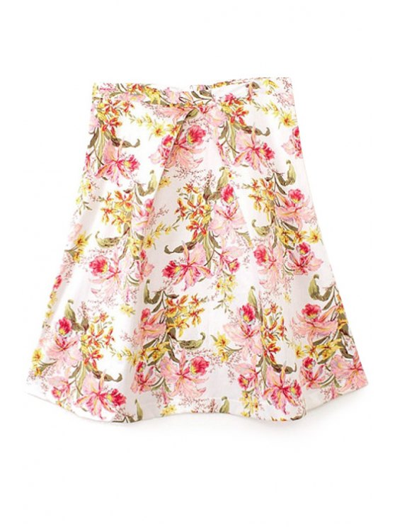 lady Flower Print High Waisted Skirt - WHITE S