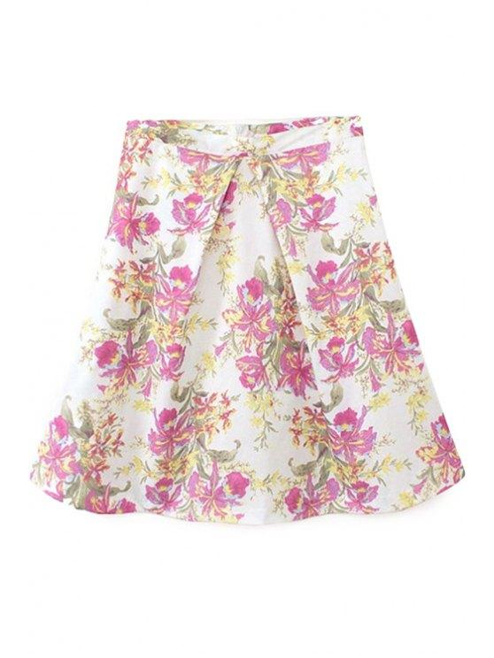 shop High Waisted Flower Print Skirt - WHITE S