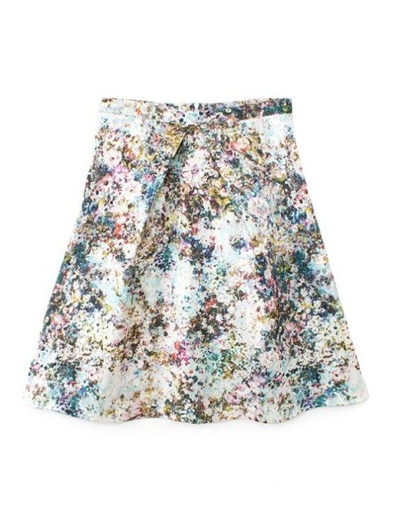 fancy Tiny Floral Print A-Line Skirt - LIGHT BLUE S