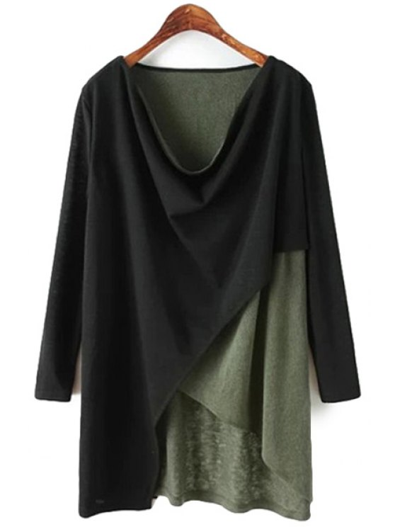 online Color Block Scoop Neck T-Shirt - BLACK ONE SIZE(FIT SIZE XS TO M)