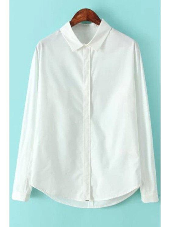 chic Long Sleeves White Shirt - WHITE S