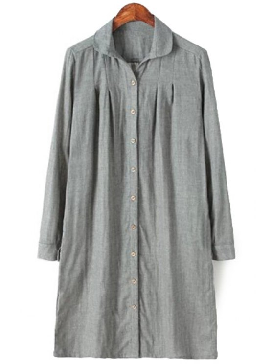 best Long Sleeves Solid Color Shirt - GRAY ONE SIZE(FIT SIZE XS TO M)