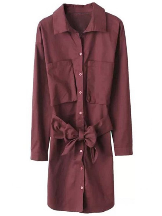 outfit Shirt Collar Solid Color Pocket Dress - WINE RED S