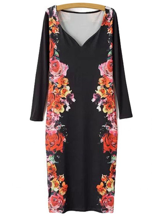 chic V-Neck Floral Print Dress - RED WITH BLACK S