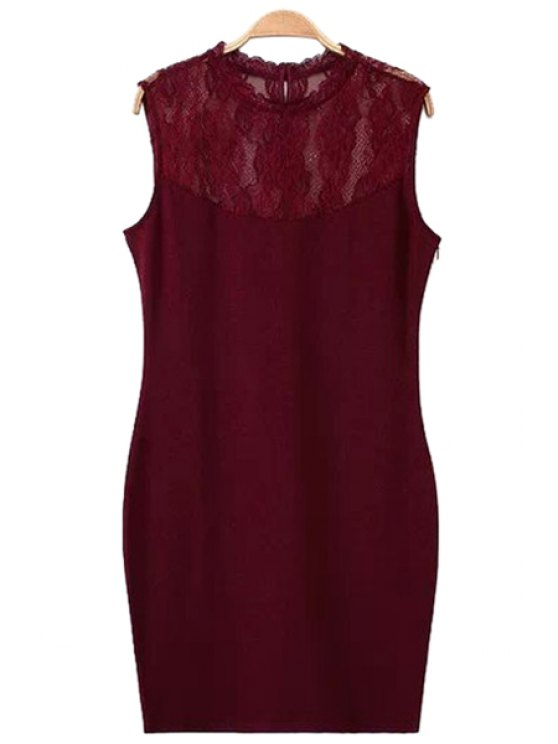 buy Sleeveless Lace Splicing Dress - WINE RED S