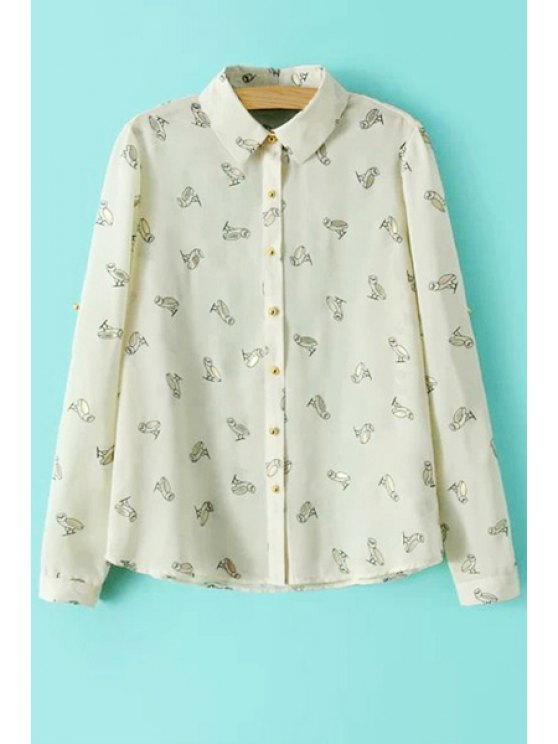 online Full Owl Print Long Sleeve Shirt - BEIGE S