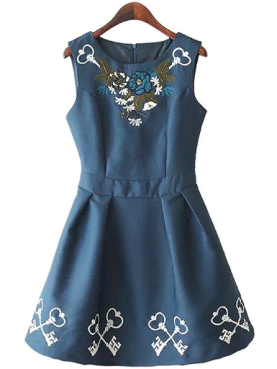 shop Floral Embroidery A-Line Sundress - PURPLISH BLUE S