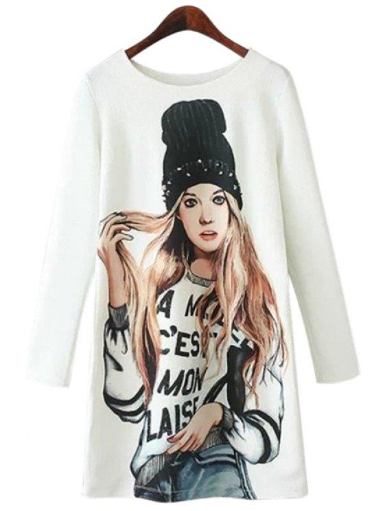 lady Girl Print Long Sleeve Dress - WHITE L