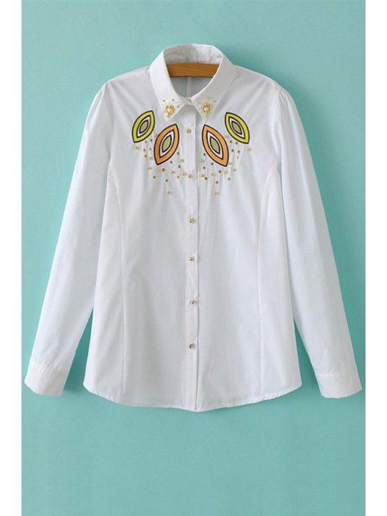 women's Long Sleeve Embroidery Beaded Shirt - WHITE S