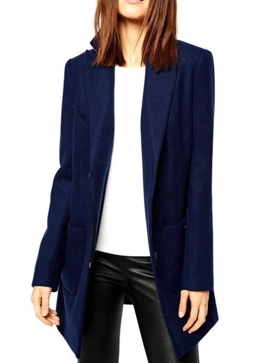 trendy Lapel Solid Color Zipper Coat - NAVY BLUE S