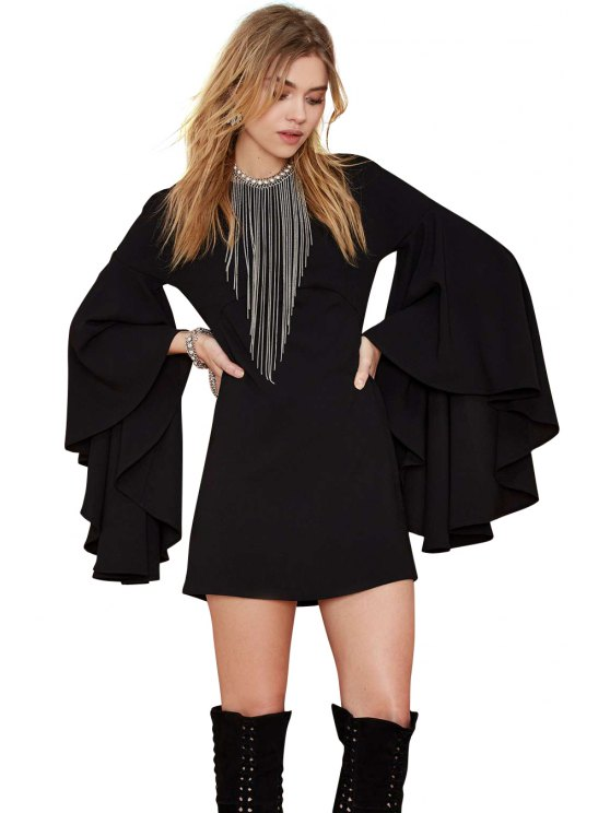 shops Flare Sleeve Black Dress - BLACK L
