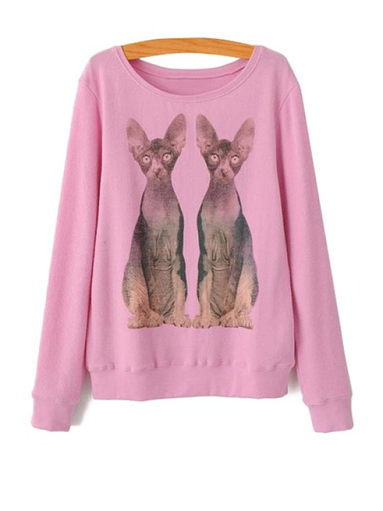 trendy Kittens Print Long Sleeve Sweatshirt - PINK S
