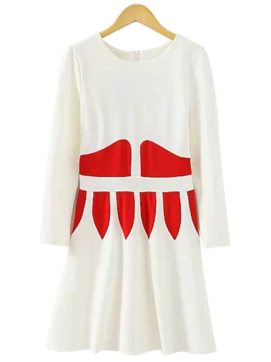 fashion Long Sleeve Color Block A-Line Dress - WHITE L