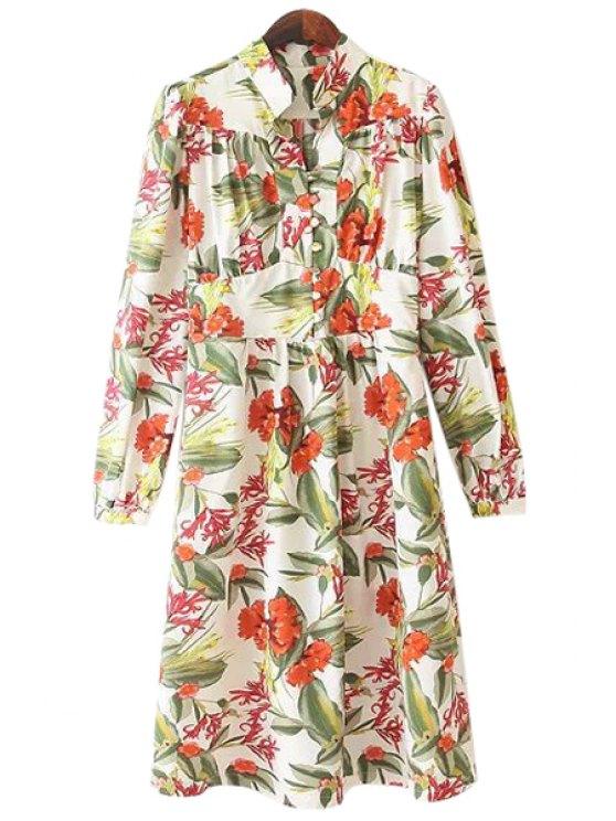 trendy Stand Collar Floral Print Dress - CELADON S