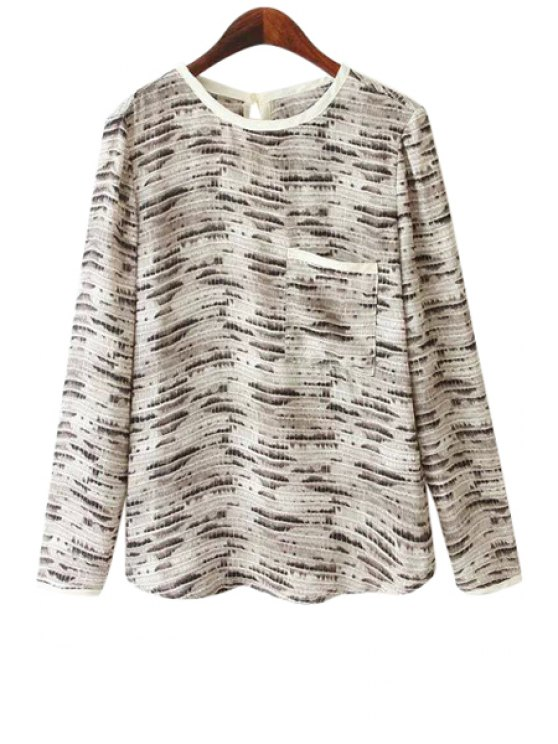 women Long Sleeves Snake Pattern Blouse - LIGHT GRAY S