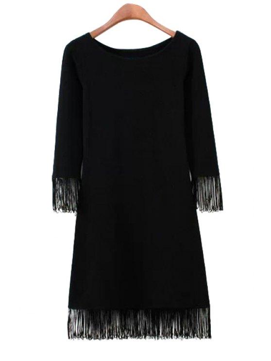 best Solid Color 3/4 Sleeve Fringe Dress - BLACK S