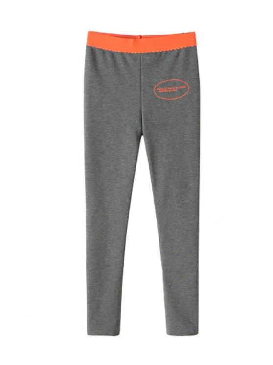 shop Color Block Narrow Feet Pants - GRAY S