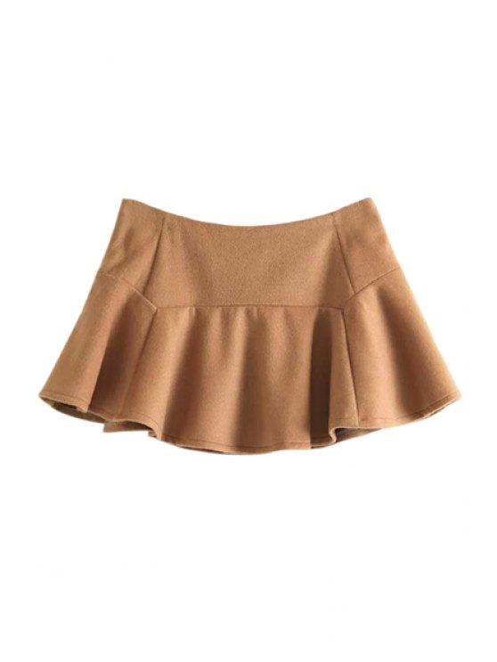 affordable Ruffles Splicing Solid Color Skirt - KHAKI L