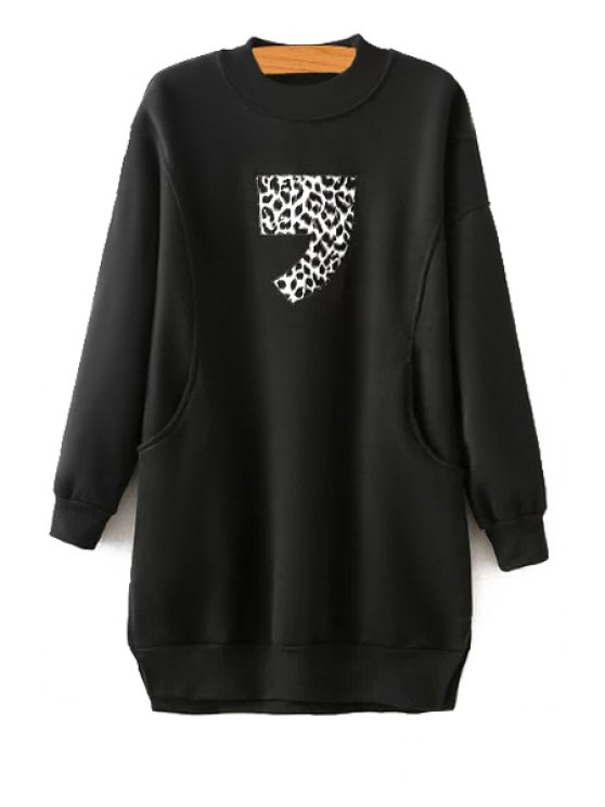 affordable Leopard Pattern Splicing Sweatshirt - BLACK ONE SIZE(FIT SIZE XS TO M)