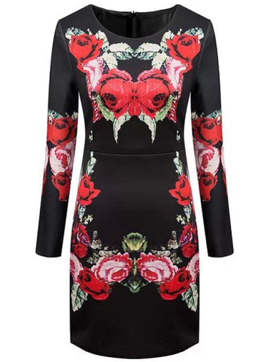 outfits Long Sleeve Rose Print Dress - RED WITH BLACK S