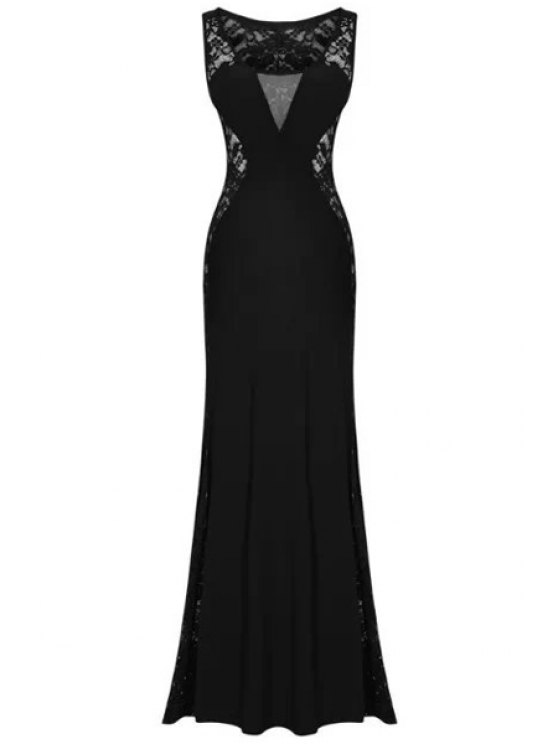 unique Lace Splicing Sleeveless Maxi Dress - BLACK S