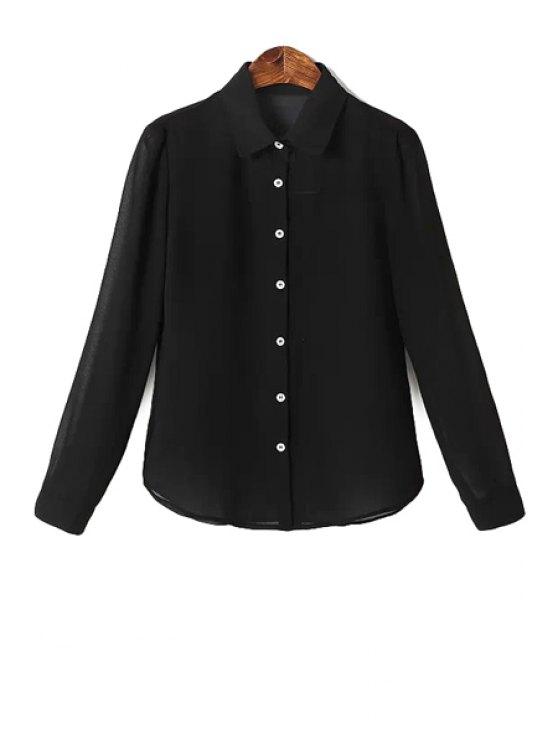 women Solid Color Shirt Neck Shirt - BLACK S