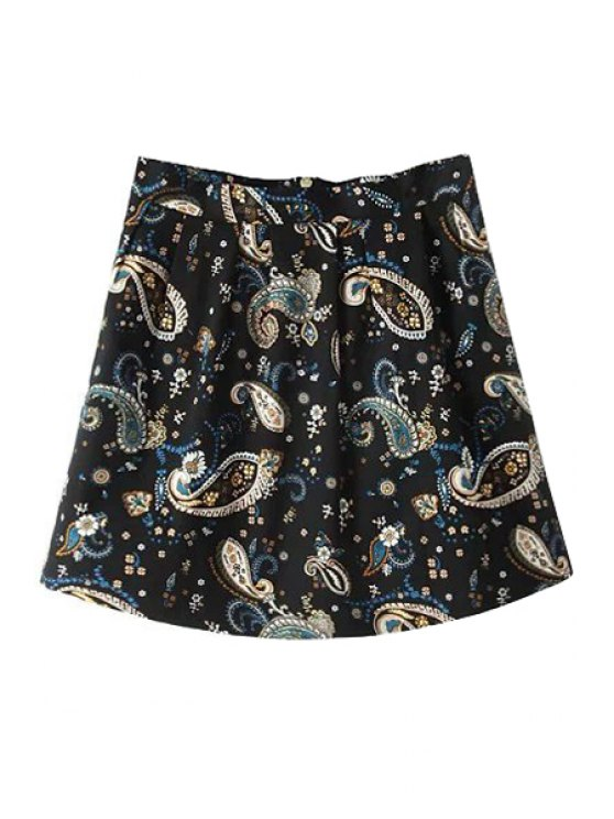 women's Full Floral A-Line Skirt - BLACK S